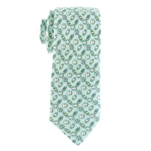 Green with Cookies Motif Regular 100% Silk Necktie