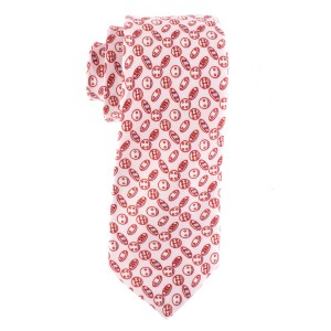 Pink with Cookies Motif Regular 100% Silk Necktie