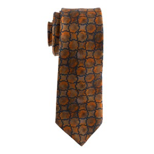 Rust Brown Plaid Regular 100% Silk Necktie