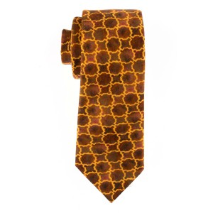 Brown with Yellow Plaid Regular 100% Silk Necktie