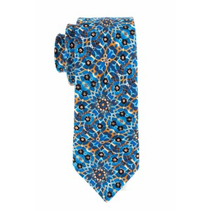 Dwelling Geo Blue and Brown Regular 100% Silk Necktie
