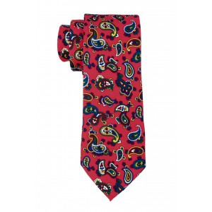 Red and Yellow/Blue Paisley Slim 100% Silk Necktie