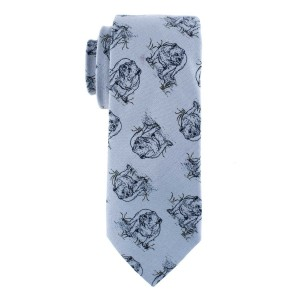 Grey with Black Bulldog Regular Handmade 100% Cotton Necktie