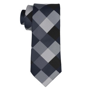 Asteria Checkered Black And Grey Silk Necktie