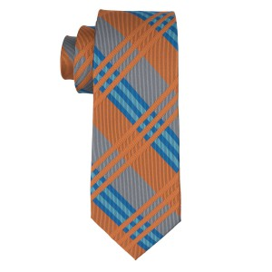 Sunrise Rust And Grey Plaid Silk Necktie
