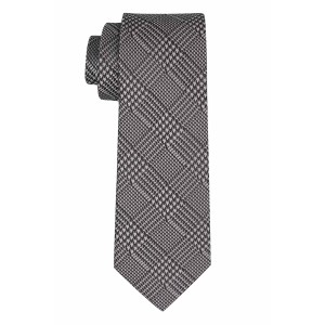 Wool Path Plaid Silver Silk Necktie