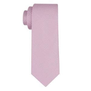 Wool Path Plaid Pink Silk Necktie