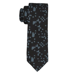 Pixel Print Black And Grey Silk Necktie