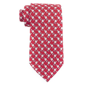 Retro Floral Red 100% Silk Necktie