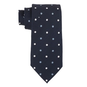 Blue with Sky and White Polka  100% Silk Necktie