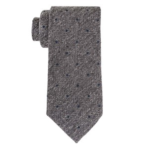 Shock Grey with teal Dots 100% Silk Necktie