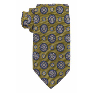 Ringside Polka Olive Green and Blue 100% Silk Necktie