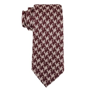 Houndstooth Maroon Plaid Silk Necktie
