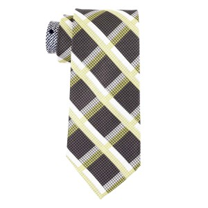 Stat Plaid Brown and Green 100% Silk Necktie