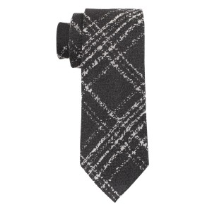 Flannel Checks Black Silk Necktie