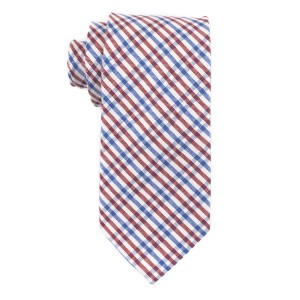 West Village Plaid Red and Blue 100% Silk Necktie