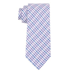 West Village Plaid Purple and Blue 100% Silk Necktie