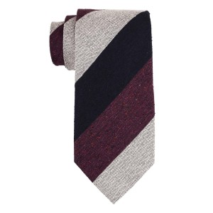 Dual Texture Maroon and Grey 100% Silk Necktie