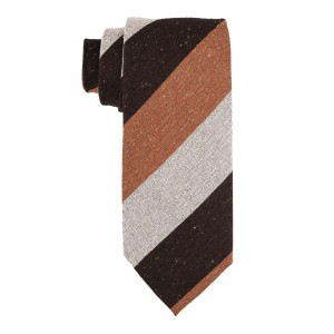 Dual Texture Orange and Brown 100% shantung Silk Necktie