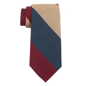 Dual Texture Gold and Red 100% Silk Necktie