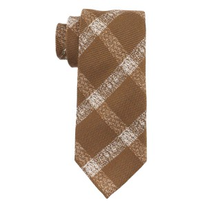 Cargo Plaid Brown and White 100% Silk Necktie