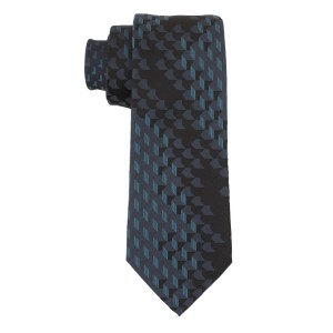 Aisal 3D Print Black and Teal 100% Silk  Necktie
