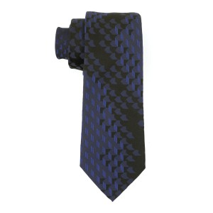 Aisal 3D Print Black and Blue 100% Silk  Necktie