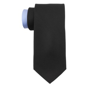 Horizontal stripe Black with Blue Tail 100% Silk Necktie