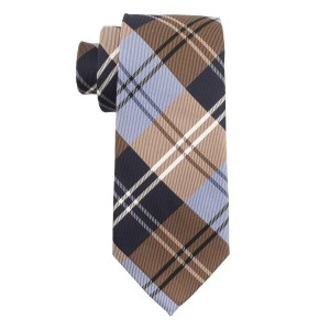 Crystal Plaid Brown and Blue Silk and Cotton Necktie