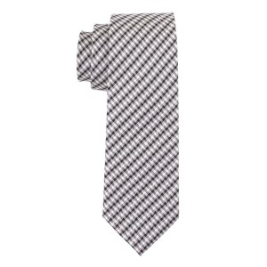 Acoustic Plaid Black and Grey 100% Silk Necktie
