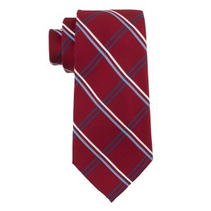 Flatline Plaid Red and Blue 100% Silk Necktie