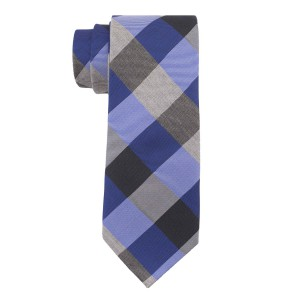 Columbus Plaid Royal Blue and Black 100% Silk Necktie