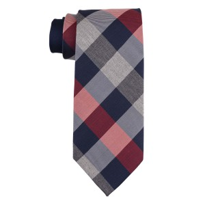 Columbus Plaid Red and Blue 100% Silk Necktie