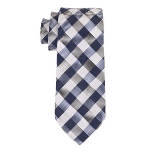 Oid City Checks White and Blue 100% Silk necktie