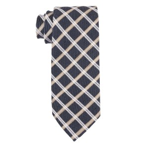 Novel Plaid Navy Blue and Yellow 100% Silk Necktie