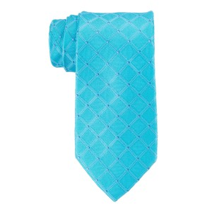Senior Plaid Aqua and Grey 100% Silk Necktie