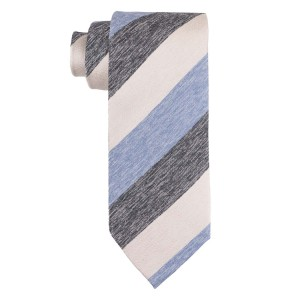 Blue, Cream And Grey Stripe Silk Necktie