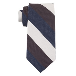 Blue, Brown And Cream Stripe Silk Necktie