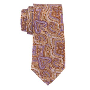 Twill Paisley Gold and Purple 100% Silk Necktie