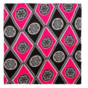 Lotus pink and black pocket square