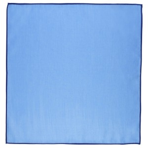 Weldner solid Sky blue Pocket Square with Blue border