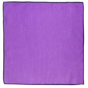 Weldner Solid Lavender Pocket Square with Blue Border