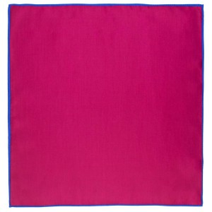 Weldner Magenta with Blue Border Solid Pocket Square
