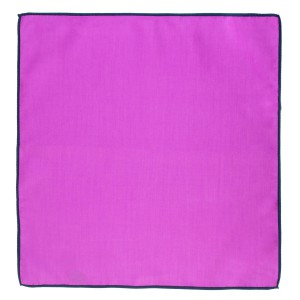 Weldner Purple Pocket Square with Navy Border Solid