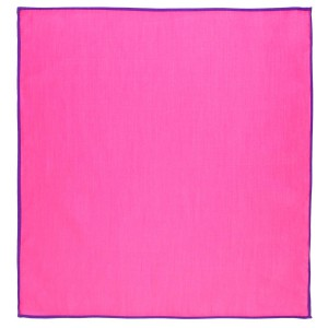Weldner Pink Pocket Square with Purple border Solid