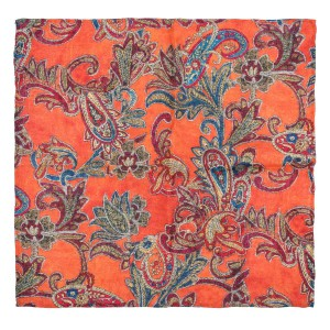 Paisley Orange 100% Pashmina Pocket Square