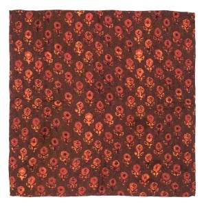 Mini Floral Mark Maroon 100% Pashmina Pocket Square