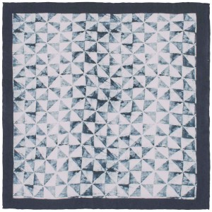 Pinwheel Gray and White 100% Silk Pocket Square