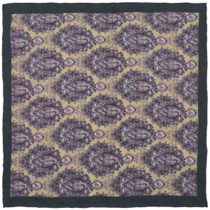 Row Floral Purple 100% Silk Pocket Square