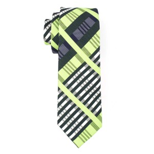 Green and Bottle Green Plaid Slim 100% Silk Necktie